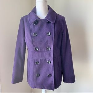 Style & Co. Purple Pea Coat with Removable Hood